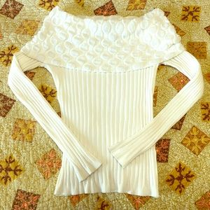 NWT white off the shoulder fitted sweater